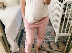 32 weeks maternity style in NON maternity joggers that have become my GO TO!