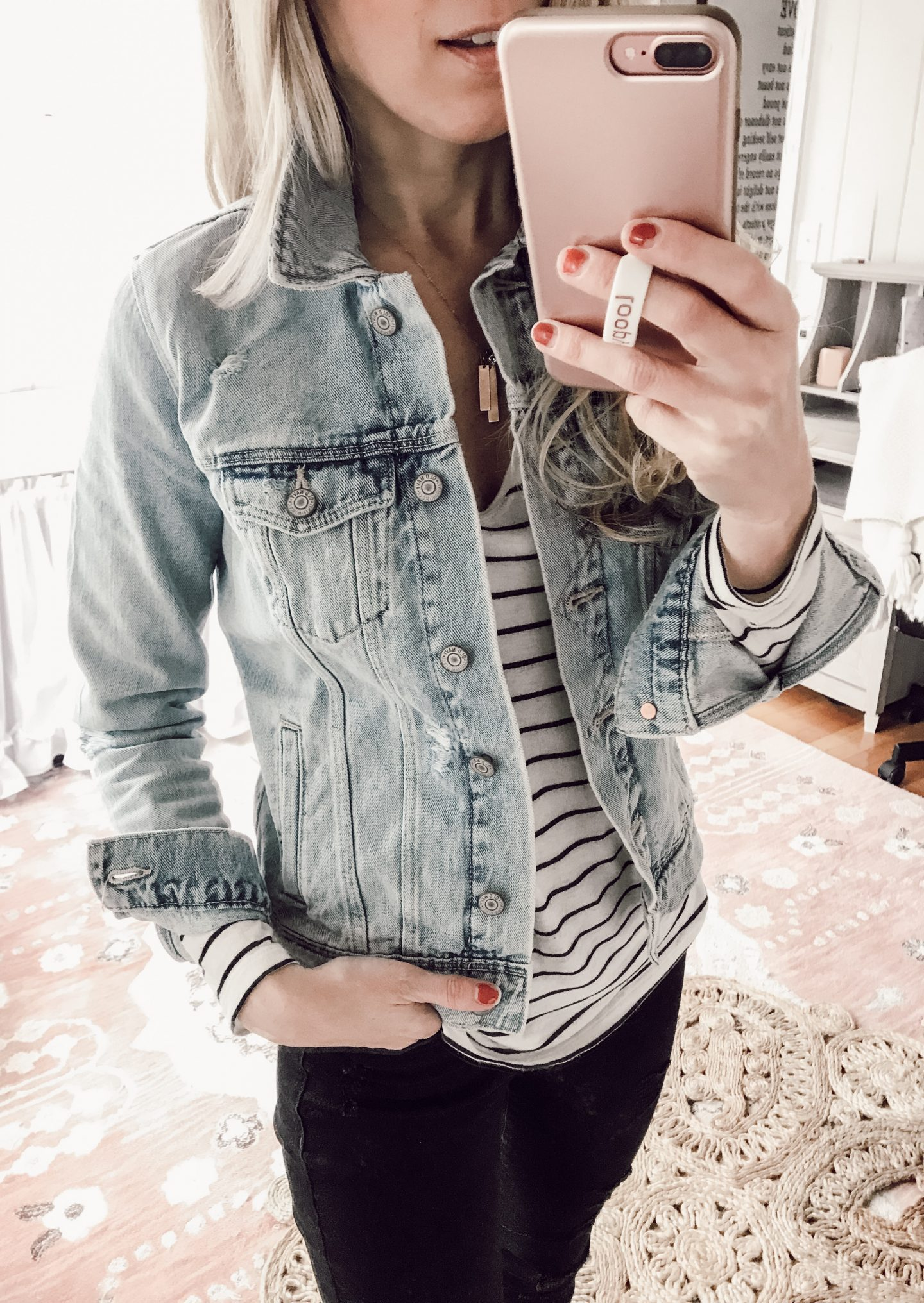 Motherhood blogger, Lynzy & Co. talks about styling spring layers in New England and creating a wardrobe of timeless pieces.