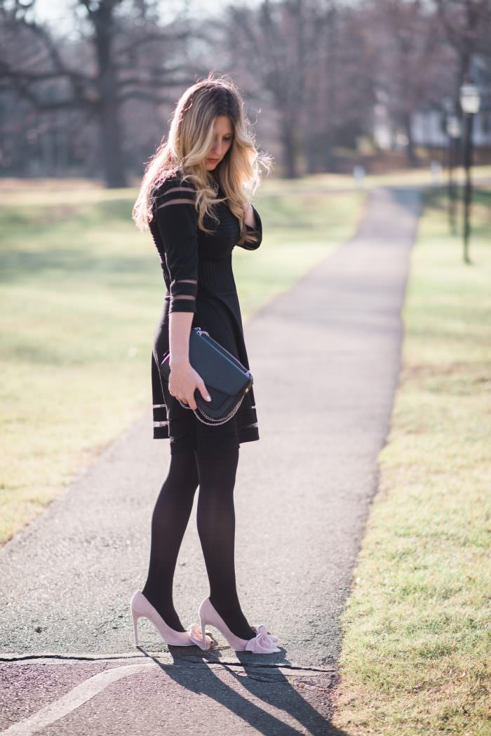 New Year's Eve Outfit featuring a little black dress & faux fur collar sweater!