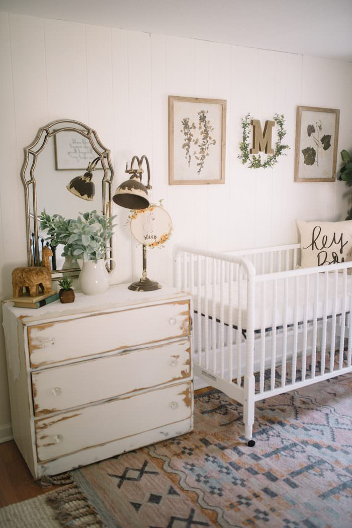 Combined Nursery & Guest Bedroom // A gender neutral nursery that was conveniently set up in the guest bedroom of this renovated farmhouse