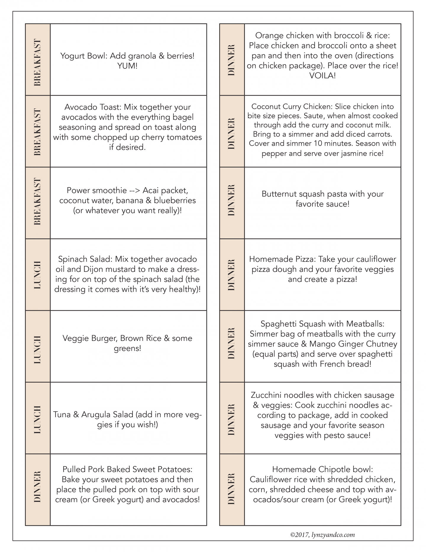 trader joe s meal plan ideas printable shopping list lynzy co